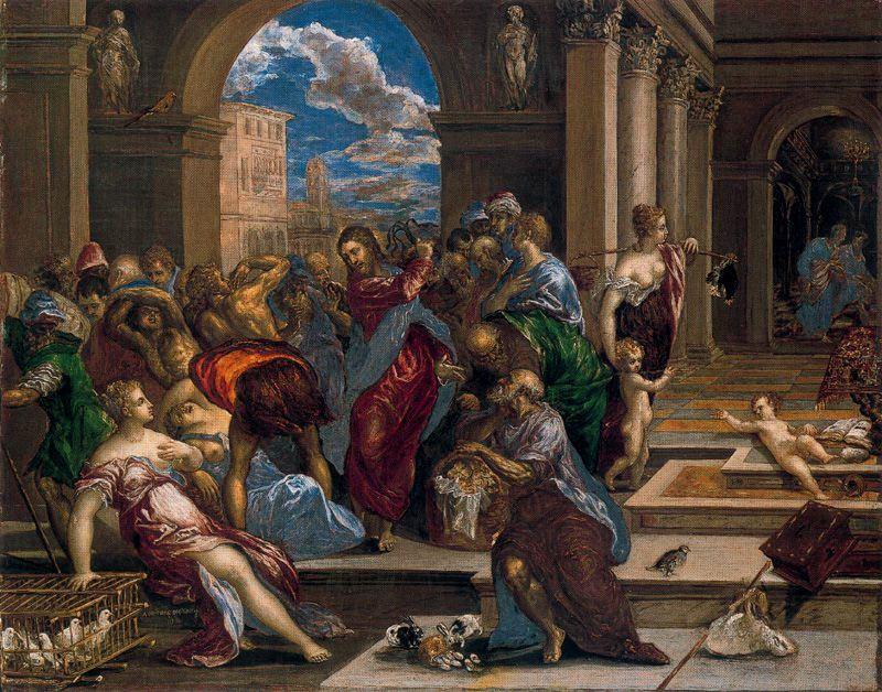Resultado de imagen para expulsión de los mercaderes pintura el greco
